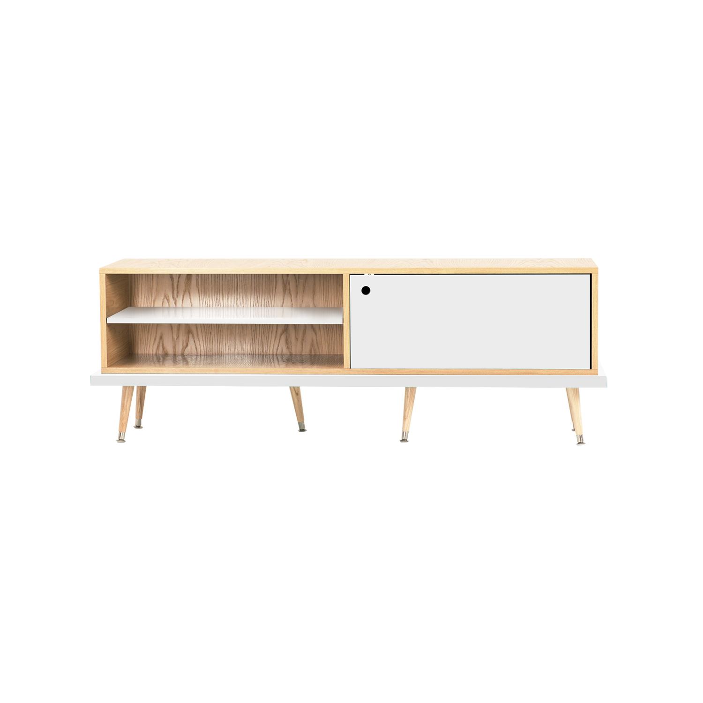 Тумба для мультимедиа TiwiТумбы под TV<br>&amp;lt;div&amp;gt;Тумба под телевизор TiWi отражает общую концепцию мебели Woodi Furniture: функциональность, качество, современный дизайн и имеет достаточно традиционную форму для мебели в стиле mid-century modern. Тумба TiWi имеет две полки для открытой системы хранения и две полки за дверцей, для закрытой системы хранения. Корпус тумбы под телевизор изготовлен из МДФ и покрыт натуральным дубовым шпоном. Открытая полка и дверца окрашены в различные цвета из палитры Woodi Furniture. Тумба под телевизор TiWi опирается на шесть ножек конической формы, которые изготовлены из массива бука. Нижняя часть ножек украшена металлическими наконечниками стального цвета. По запросу, возможно изготовление технического отверстия для проводов.&amp;lt;/div&amp;gt;&amp;lt;div&amp;gt;&amp;lt;br&amp;gt;&amp;lt;/div&amp;gt;&amp;lt;div&amp;gt;Материал: Корпус - МДФ, лакированный дубовый шпон, краска; ножки – массив бука, лак.&amp;lt;/div&amp;gt;<br><br>Material: МДФ<br>Ширина см: 159.0<br>Высота см: 45.0<br>Глубина см: 34.0