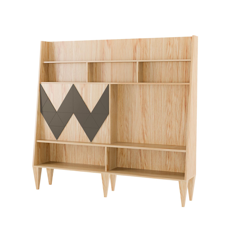 Стенка для гостиной Woo WallСтеллажи и этажерки<br>Стенка в гостиную Woo Wall - первая из коллекции стенок Woodi Furniture. Стенка имеет закрытую систему хранения с двумя дверками и полкой внутри, и открытые полки для размещения телевизора, книг и декора.<br>Фасады дверок, традиционно для коллекции мебели Woo Family, украшает двухмерный геометрический узор окрашенный в различные цвета из палитры Woodi Furniture.<br>Стенка опирается на шесть устойчивых ножек конической формы, изготовленных из массива бука.<br><br>kit: None<br>gender: None