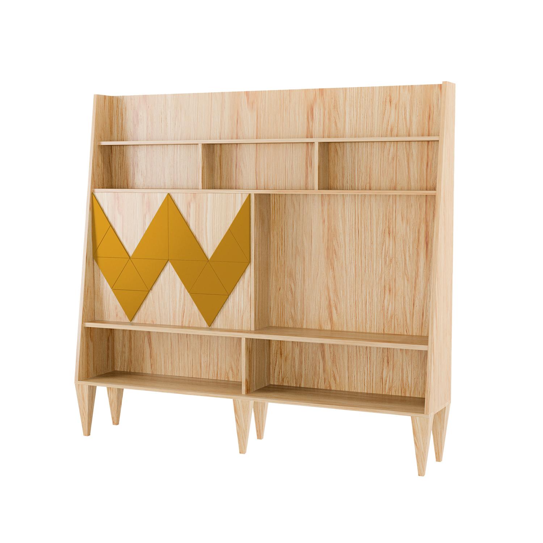Стенка для гостиной Woo WallСтеллажи и этажерки<br>Стенка в гостиную Woo Wall - первая из коллекции стенок Woodi Furniture. Стенка имеет закрытую систему хранения с двумя дверками и полкой внутри, и открытые полки для размещения телевизора, книг и декора.<br>Фасады дверок, традиционно для коллекции мебели Woo Family, украшает двухмерный геометрический узор окрашенный в различные цвета из палитры Woodi Furniture.<br>Стенка опирается на шесть устойчивых ножек конической формы, изготовленных из массива бука.<br><br>Material: МДФ<br>Ширина см: 190.0<br>Высота см: 170.0<br>Глубина см: 36.0