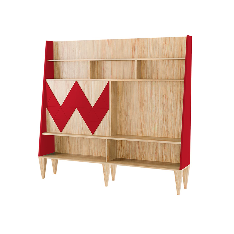 Стенка для гостиной Woo WallСтеллажи и этажерки<br>Стенка в гостиную Woo Wall - первая из коллекции стенок Woodi Furniture. Стенка имеет закрытую систему хранения с двумя дверками и полкой внутри, и открытые полки для размещения телевизора, книг и декора.<br>Фасады дверок, традиционно для коллекции мебели Woo Family, украшает двухмерный геометрический узор окрашенный в различные цвета из палитры Woodi Furniture. Цвет боковых частей стенки повторяет цвет узора на фасаде.<br>Стенка опирается на шесть устойчивых ножек конической формы, изготовленных из массива бука.<br><br>Material: МДФ<br>Ширина см: 190<br>Высота см: 170<br>Глубина см: 36