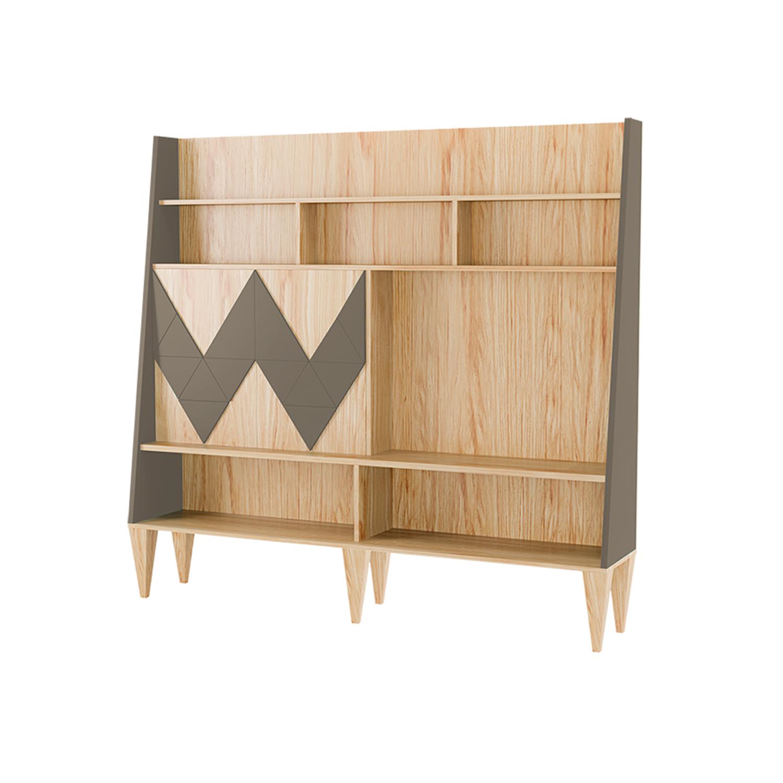 Стенка для гостиной Woo WallСтеллажи и этажерки<br>Стенка в гостиную Woo Wall - первая из коллекции стенок Woodi Furniture. Стенка имеет закрытую систему хранения с двумя дверками и полкой внутри, и открытые полки для размещения телевизора, книг и декора.<br>Фасады дверок, традиционно для коллекции мебели Woo Family, украшает двухмерный геометрический узор окрашенный в различные цвета из палитры Woodi Furniture. Цвет боковых частей стенки повторяет цвет узора на фасаде.<br>Стенка опирается на шесть устойчивых ножек конической формы, изготовленных из массива бука.<br><br>Material: МДФ<br>Ширина см: 190.0<br>Высота см: 170.0<br>Глубина см: 36.0