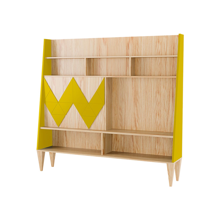 Стенка для гостиной Woo WallСтеллажи и этажерки<br>Стенка в гостиную Woo Wall - первая из коллекции стенок Woodi Furniture. Стенка имеет закрытую систему хранения с двумя дверками и полкой внутри, и открытые полки для размещения телевизора, книг и декора.<br>Фасады дверок, традиционно для коллекции мебели Woo Family, украшает двухмерный геометрический узор окрашенный в различные цвета из палитры Woodi Furniture. Цвет боковых частей стенки повторяет цвет узора на фасаде.<br>Стенка опирается на шесть устойчивых ножек конической формы, изготовленных из массива бука.<br><br>kit: None<br>gender: None