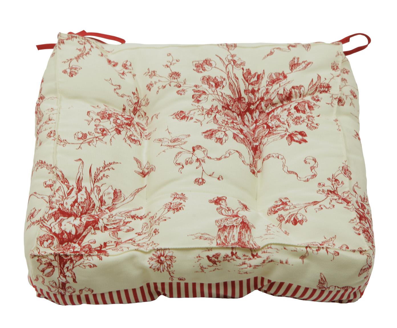 Подушка-сидушка на стул Жуи БордоКвадратные подушки и наволочки<br>Обратная сторона в красно белую полоску.<br><br>Material: Хлопок<br>Ширина см: 40.0<br>Высота см: 0.7<br>Глубина см: 40.0