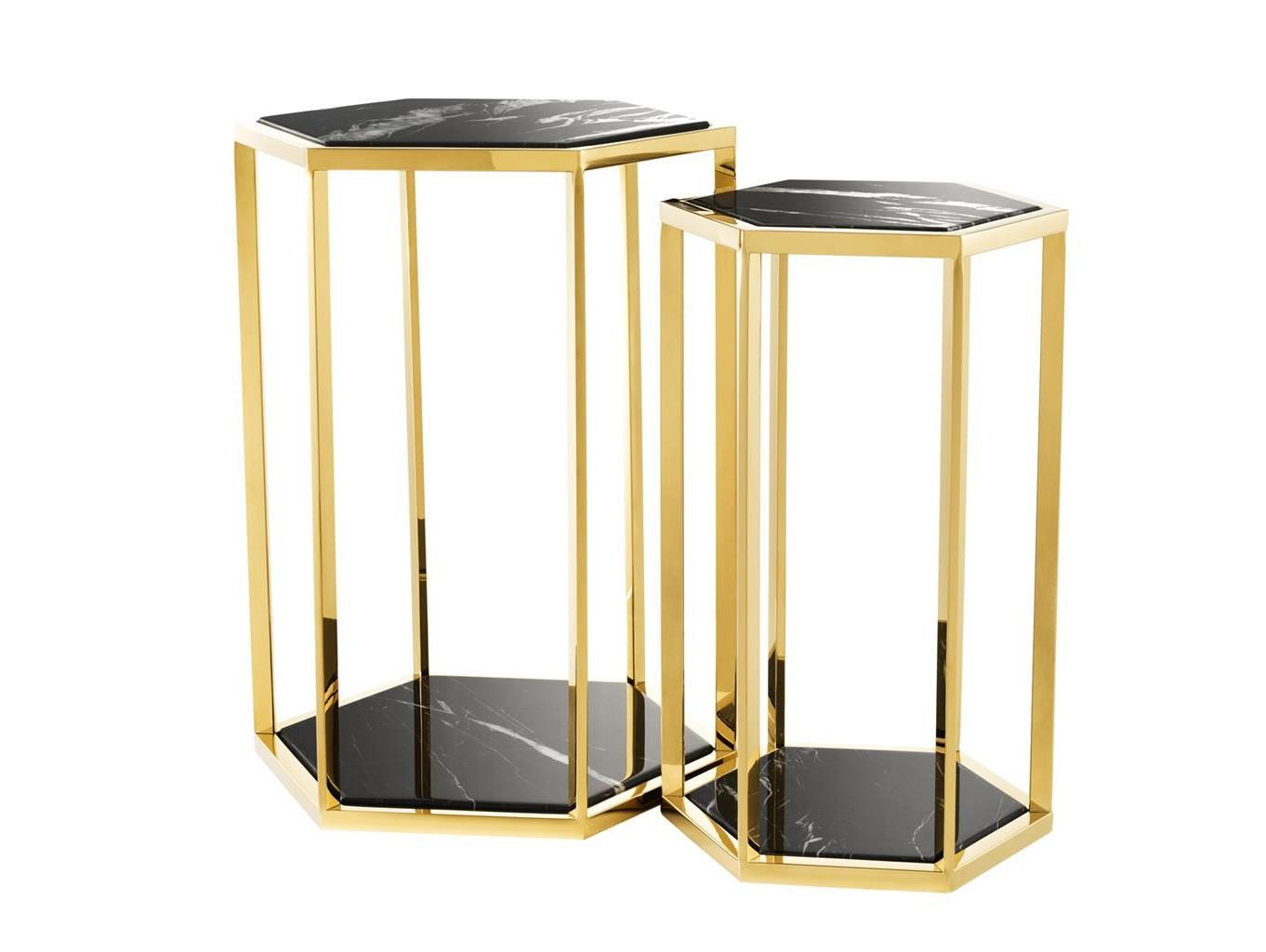 Набор столиков Taro (2 шт)Приставные столики<br>Набор из двух столиков Taro с каркасом из металла золотого цвета.&amp;amp;nbsp;&amp;lt;div&amp;gt;Столешницы из черного мрамора.&amp;amp;nbsp;&amp;lt;/div&amp;gt;&amp;lt;div&amp;gt;&amp;lt;br&amp;gt;&amp;lt;/div&amp;gt;&amp;lt;div&amp;gt;Размеры:&amp;amp;nbsp;&amp;lt;/div&amp;gt;&amp;lt;div&amp;gt;46 x 40 x H. 60,5 cm;&amp;lt;/div&amp;gt;&amp;lt;div&amp;gt;34,5 x 30 x H. 55,5 cm&amp;lt;br&amp;gt;&amp;lt;/div&amp;gt;<br><br>Material: Мрамор