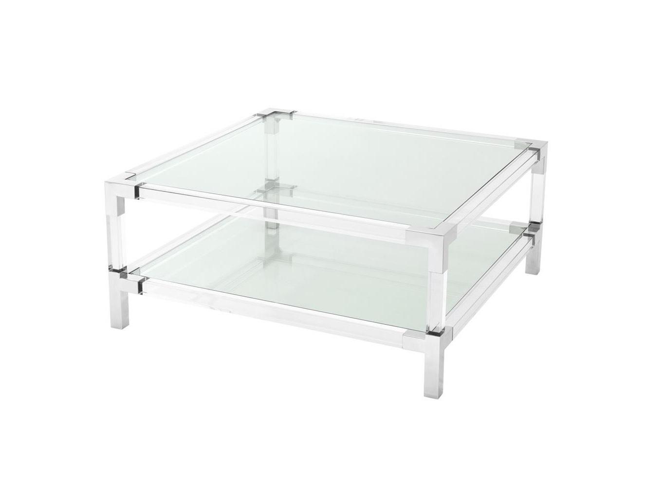Журнальный столик RoyaltonЖурнальные столики<br>Журнальный столик Royalton с каркасом из полированной нержавеющей стали.&amp;amp;nbsp;&amp;lt;div&amp;gt;Столешница и полка выполнены из прозрачного стекла.&amp;lt;/div&amp;gt;<br><br>Material: Стекло<br>Ширина см: 100.0<br>Высота см: 45.0<br>Глубина см: 100.0
