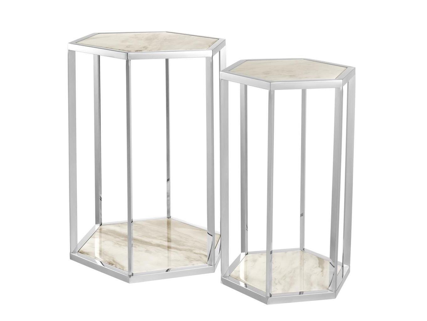 Набор столиков Taro (2 шт)Приставные столики<br>Набор из двух столиков Taro с каркасом из полированной нержавеющей стали.&amp;amp;nbsp;&amp;lt;div&amp;gt;Столешницы из белого мрамора.&amp;amp;nbsp;&amp;lt;/div&amp;gt;&amp;lt;div&amp;gt;Размеры:&amp;amp;nbsp;&amp;lt;/div&amp;gt;&amp;lt;div&amp;gt;&amp;lt;br&amp;gt;&amp;lt;/div&amp;gt;&amp;lt;div&amp;gt;46 x 40 x 60,5 cm&amp;lt;/div&amp;gt;&amp;lt;div&amp;gt;34,5 x 30 x 55,5 cm&amp;amp;nbsp;&amp;lt;/div&amp;gt;<br><br>Material: Мрамор