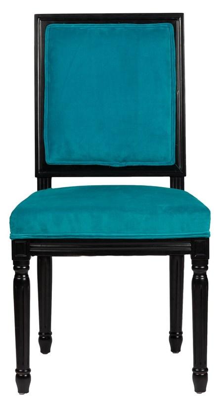 Стул OvertureОбеденные стулья<br>Яркий бирюзовый стул Overture выполнен в стиле «цветной прованс». Деревянный каркас из благородных пород дерева и вельветовая обивка придают стулу роскошный вид и изысканность.<br>Материал: Вельвет, деревянное основание черное, поролон<br><br>Material: Вельвет<br>Length см: 50<br>Width см: 55<br>Height см: 96