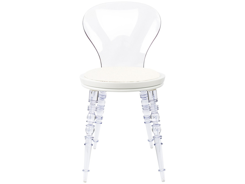 Стул Премьер Blanc прозрачныйОбеденные стулья<br>В обивке стула использована белая экокожа с легким кремовым оттенком и эффектом тысячи кристаллов Сваровски, усыпанных по всей поверхности ткани. Такая ткань была создана в честь эксклюзивного платья Мэрилин Монро, в котором ей предстояло выступить на дне рождения президента США Джона Кеннеди.&amp;amp;nbsp;&amp;lt;div&amp;gt;&amp;lt;br&amp;gt;&amp;lt;/div&amp;gt;<br><br>Material: Пластик<br>Ширина см: 40.0<br>Высота см: 81.0<br>Глубина см: 40.0