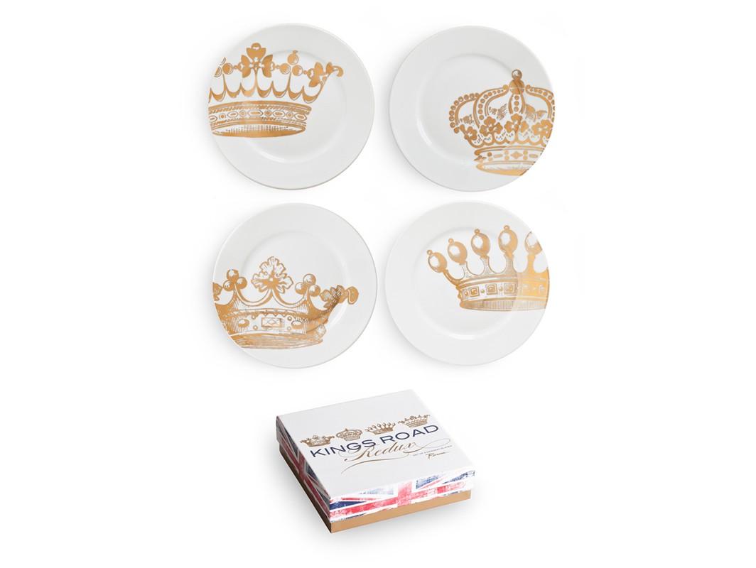 Набор десертных тарелок Redux (4 шт)Тарелки<br>В основе королевской серии &amp;quot;King&amp;#39;s Road&amp;quot; — посуда из настоящего фарфора, дополненная золотом, что придает дизайну изысканность и элегантность.  Каждый предмет коллекции упакован в свою фирменную коробку с отдельным дизайном, что еще сильнее подчеркивает особенность этой серии.&amp;amp;nbsp;<br><br>Material: Фарфор<br>Высота см: 3.0