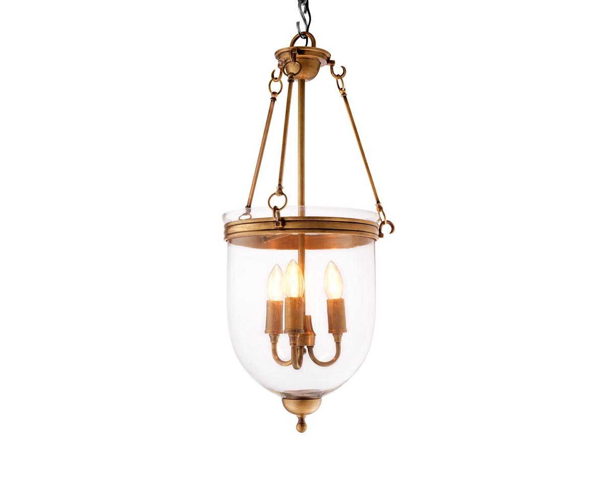 Подвесная люстра CameronЛюстры подвесные<br>Подвесная люстра из коллекции Cameron S на арматуре из металла цвета состаренная латунь. Плафон выполнен из прозрачного стекла. Внутри плафона располагаются 3 лампы. Высота светильника регулируется за счет звеньев цепи. Лампочки, абужуры в комплект не входят.Вид цоколя: Е14Мощность ламп: 40WКоличество ламп: 3<br><br>kit: None<br>gender: None