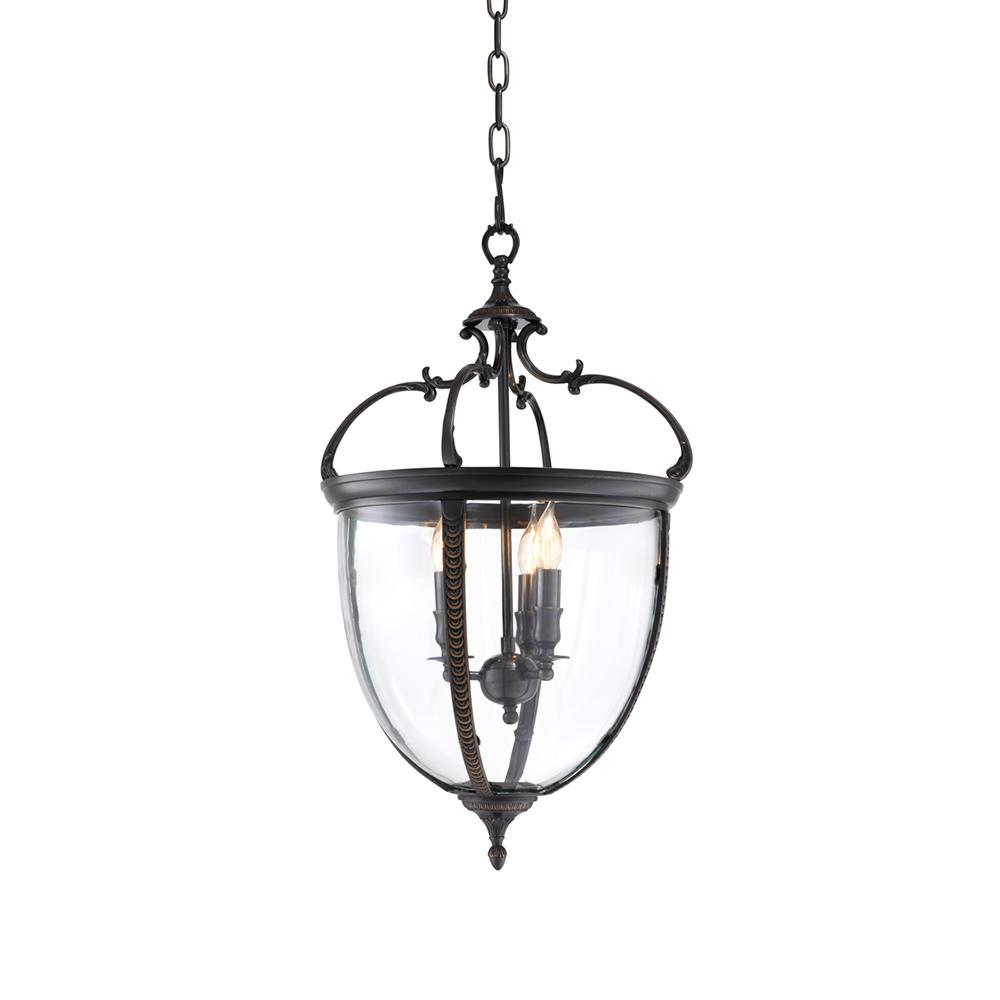 Подвесная люстра SpencerЛюстры подвесные<br>Подвесной светильник-лантерна из коллекции Lantern Spencer на арматуре из металла темно-коричневого цвета. Створки плафона выполнены из прозрачного стекла. Высота светильника регулируется за счет звеньев цепи. Лампочки в комплект не входят.Вид цоколя: Е14Мощность ламп: 40WКоличество ламп: 3<br><br>kit: None<br>gender: None