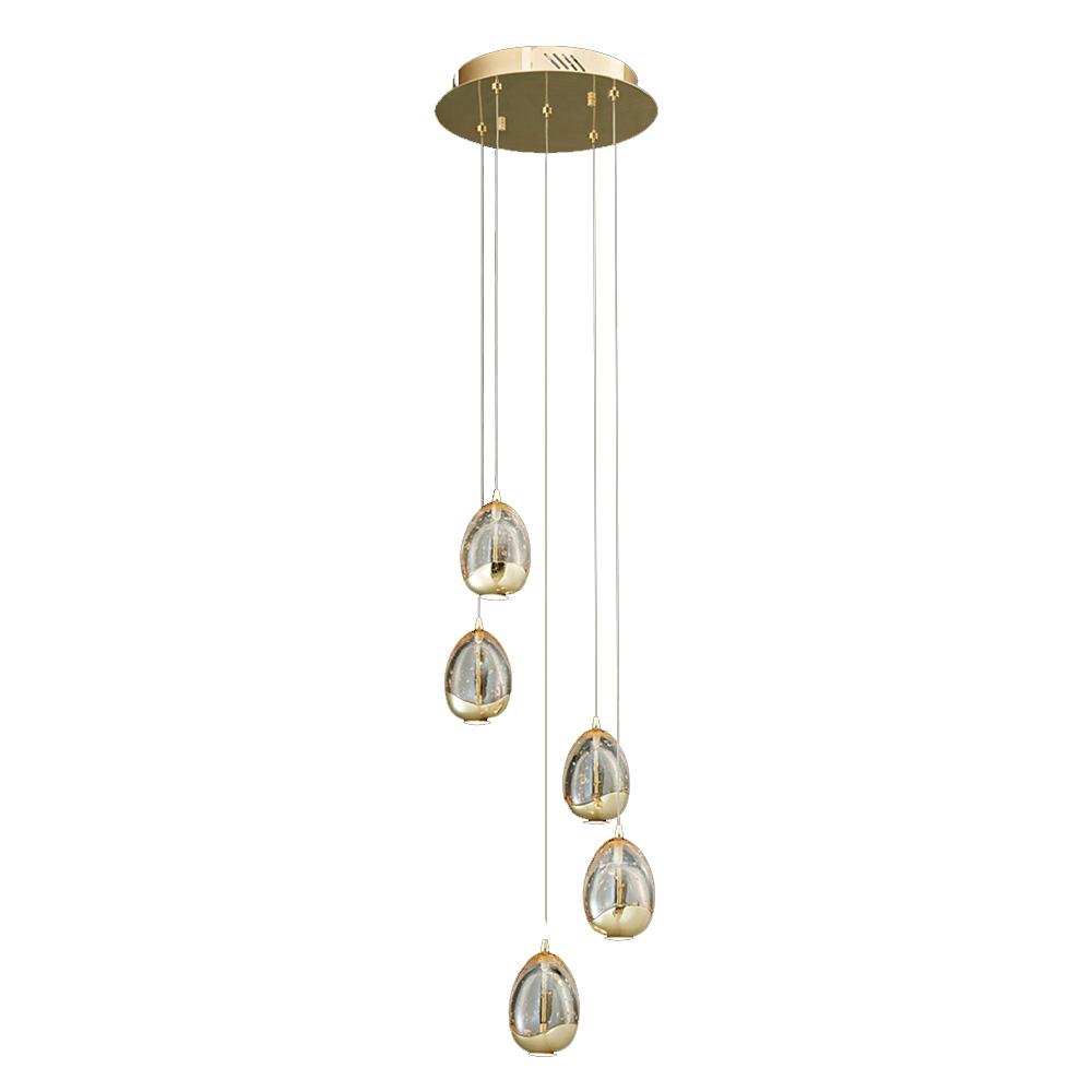 Подвесной светильник TerreneПодвесные светильники<br>Оригинальные круглые плафоны, подвешенные в шахматном порядке, создают абстрактную фигуру, в которой угадывается форма спирали. Она придает силуэту светильника элегантность и добавляет его конструкции динамизм. Несколько ламп, заключенных в объемных стеклянных элементах, мягко распространяют свет, тонущий в золотых искрах цвета шампань. Гламур и изящество, воплощенные в эклектичном дизайне такого светильника, прекрасно дополнят собой современные интерьеры.&amp;lt;div&amp;gt;&amp;lt;br&amp;gt;&amp;lt;/div&amp;gt;&amp;lt;div&amp;gt;Количество лампочек: 5.&amp;lt;/div&amp;gt;&amp;lt;div&amp;gt;Мощность: 5 x 24 Вт.&amp;lt;/div&amp;gt;&amp;lt;div&amp;gt;Тип лампы: LED.&amp;lt;/div&amp;gt;<br><br>Material: Стекло<br>Ширина см: 30<br>Высота см: 150<br>Глубина см: 30