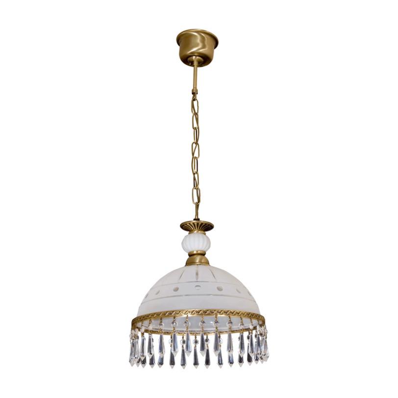 Потолочный светильник АнгелПодвесные светильники<br>Основание из латуни, стеклянный плафон с резным узором, декоративные подвески из хрусталя.<br><br>Тип лампы: Накаливания<br>1 X 60W<br>Рекомендуемая площадь освещения: 3 кв. м<br><br>Material: Металл<br>Height см: 105<br>Diameter см: 30