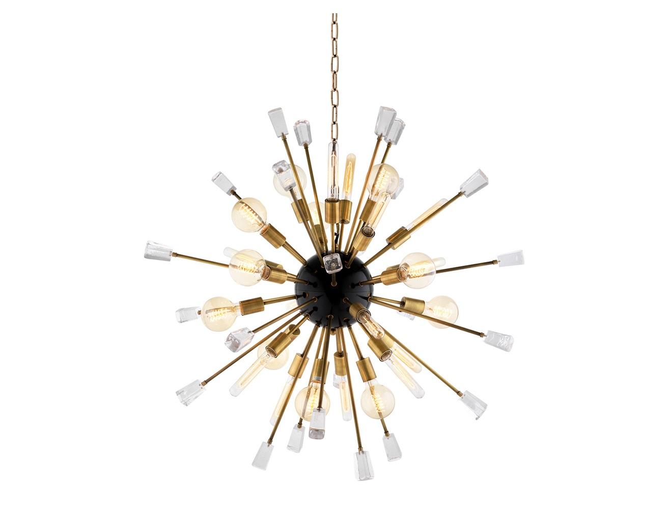 Подвесной светильник TivoliПодвесные светильники<br>Подвесной светильник Chandelier Tivoli S на арматуре цвета латунь. Плафон с оригинальным дизайном в виде &amp;quot;одуванчика&amp;quot;. Прозрачные стеклянные кристаллы в виде декора. Высота светильника регулируется за счет звеньев цепи.&amp;lt;div&amp;gt;&amp;lt;br&amp;gt;&amp;lt;/div&amp;gt;&amp;lt;div&amp;gt;&amp;lt;div&amp;gt;&amp;lt;div&amp;gt;Вид цоколя: E27&amp;lt;/div&amp;gt;&amp;lt;div&amp;gt;Мощность лампы: 40W&amp;lt;/div&amp;gt;&amp;lt;div&amp;gt;Количество ламп: 24&amp;lt;/div&amp;gt;&amp;lt;/div&amp;gt;&amp;lt;div&amp;gt;&amp;lt;br&amp;gt;&amp;lt;/div&amp;gt;&amp;lt;div&amp;gt;Лампочки в комплект не входят.&amp;lt;/div&amp;gt;&amp;lt;/div&amp;gt;<br><br>Material: Металл<br>Ширина см: 102.0<br>Высота см: 102.0<br>Глубина см: 102.0