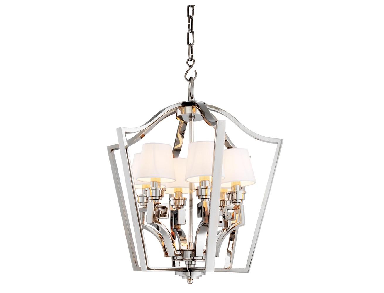 Подвесной светильник PresidentialПодвесные светильники<br>Подвесной светильник 6-ти рожковый из коллекции Chandelier Presidential S на никелированной арматуре. Тканевые абажуры белого цвета скрывают лампы. Высота светильника регулируется за счет звеньев цепи.&amp;lt;div&amp;gt;&amp;lt;br&amp;gt;&amp;lt;/div&amp;gt;&amp;lt;div&amp;gt;&amp;lt;div&amp;gt;Вид цоколя: E14&amp;lt;/div&amp;gt;&amp;lt;div&amp;gt;Мощность лампы: 40W&amp;lt;/div&amp;gt;&amp;lt;div&amp;gt;Количество ламп: 6&amp;lt;/div&amp;gt;&amp;lt;/div&amp;gt;&amp;lt;div&amp;gt;&amp;lt;br&amp;gt;&amp;lt;/div&amp;gt;&amp;lt;div&amp;gt;Лампочки в комплект не входят.&amp;lt;/div&amp;gt;<br><br>Material: Металл<br>Ширина см: 55.0<br>Высота см: 61.0<br>Глубина см: 55.0