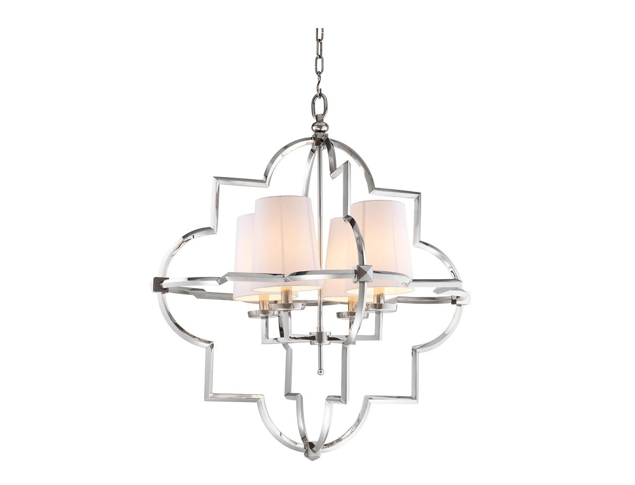 Подвесной светильник MandevilleПодвесные светильники<br>Подвесной светильник 4-х рожковый из коллекции Chandelier Mandeville L на никелированной арматуре. Тканевые абажуры белого цвета скрывают лампы. Высота светильника регулируется за счет звеньев цепи.&amp;lt;div&amp;gt;&amp;lt;br&amp;gt;&amp;lt;/div&amp;gt;&amp;lt;div&amp;gt;&amp;lt;div&amp;gt;&amp;lt;div&amp;gt;Вид цоколя: E14&amp;lt;/div&amp;gt;&amp;lt;div&amp;gt;Мощность лампы: 40W&amp;lt;/div&amp;gt;&amp;lt;div&amp;gt;Количество ламп: 4&amp;lt;/div&amp;gt;&amp;lt;/div&amp;gt;&amp;lt;div&amp;gt;&amp;lt;br&amp;gt;&amp;lt;/div&amp;gt;&amp;lt;div&amp;gt;Лампочки в комплект не входят.&amp;lt;/div&amp;gt;&amp;lt;/div&amp;gt;<br><br>Material: Металл<br>Ширина см: 87<br>Высота см: 101<br>Глубина см: 87