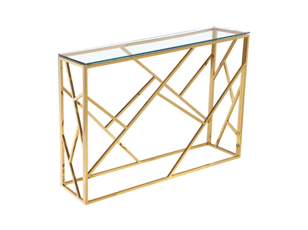 КонсольНеглубокие консоли<br>Консоль выполнена из металлической основы сложной геометрической формы.&amp;amp;nbsp;&amp;lt;div&amp;gt;Столешница выполнена из прочного, прозрачного стекла.&amp;amp;nbsp;&amp;lt;/div&amp;gt;<br><br>Material: Стекло<br>Ширина см: 115<br>Высота см: 78<br>Глубина см: 30