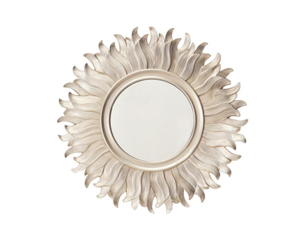 Зеркало FlorenceНастенные зеркала<br>Хотите, чтобы ваша гостиная круглый год была освещена ласковыми лучами солнца? Осуществить ваши задумки поможет интересное зеркало Florence. Необычная форма золотой рамы будет напоминать о теплом солнце или распустившемся цветке, создавая в комнате жизнерадостное весеннее настроение.Рама сделана из полимерной смолы, покрытие - золотая краска. Диаметр зеркального полотна 46,5 см.<br><br>kit: None<br>gender: None