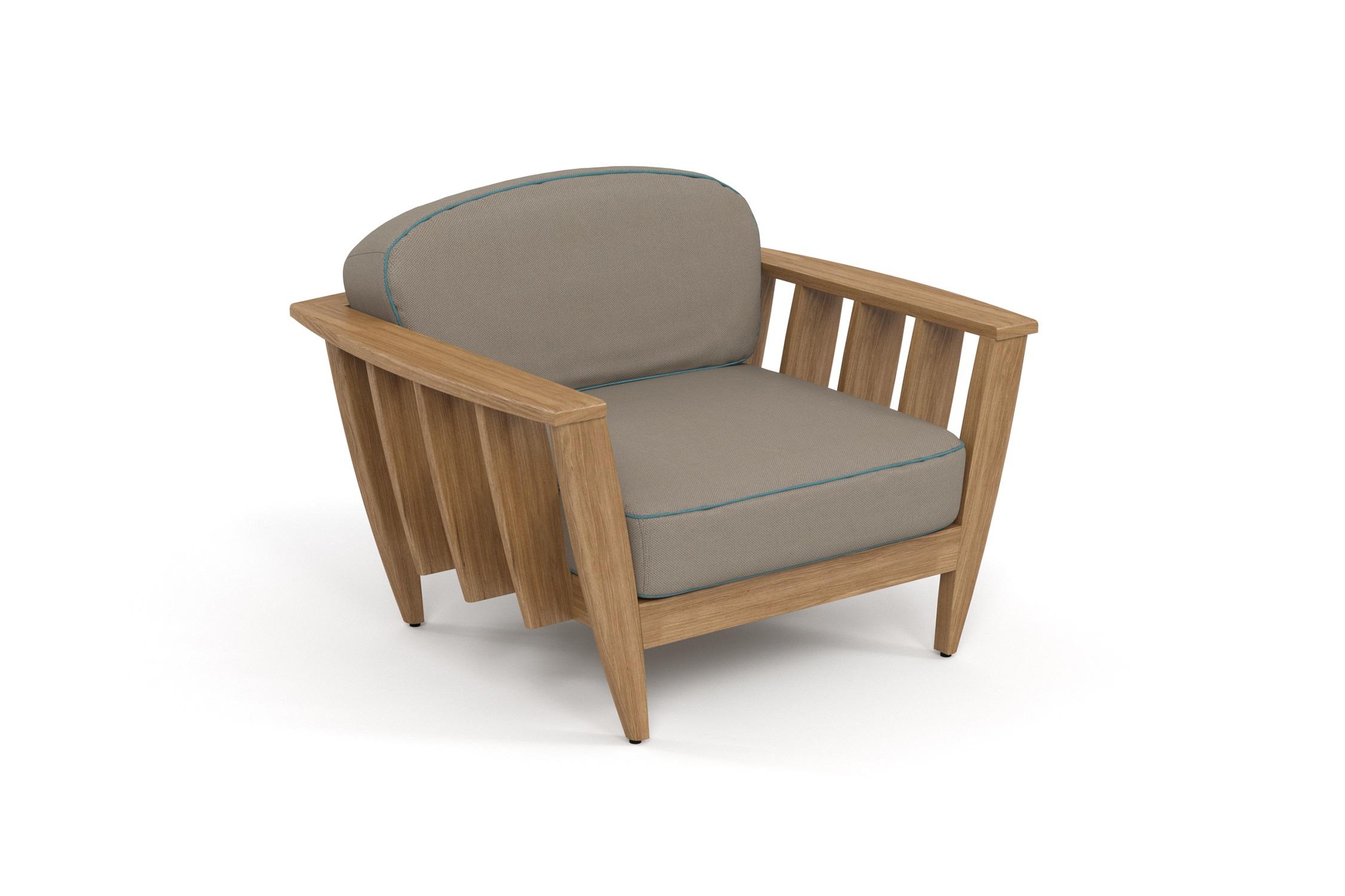 Кресло лаунж ReefКресла для сада<br>&amp;lt;div&amp;gt;Коллекция REEF - уникальный дизайн, сочетающий в себе надежность, теплоту дерева и продуманность форм. Мягкие удобные подушки, выполненные в контрастной цветовой гамме, сразу привлекают внимание к уютному уголку отдыха. Коллекция универсальна: предназначена для уединения отдыха в тенистой зелени сада, неспешных обедов во внутреннем дворике или досуга у воды.&amp;amp;nbsp;&amp;lt;/div&amp;gt;&amp;lt;div&amp;gt;Высота посадки:390мм.&amp;lt;/div&amp;gt;&amp;lt;div&amp;gt;&amp;lt;br&amp;gt;&amp;lt;/div&amp;gt;&amp;lt;div&amp;gt;Тик – прочная и твердая древесина, относится к ценным породам. Имеет темно-золотистый цвет и сохраняет его на протяжении очень длительного срока. Со временем приобретает благородный темно-серый или темно-коричневый цвет. Благодаря высокому содержанию природных масел, обладает высокой стойкостью против гниения, кислот и щелочей, не вызывает коррозию металлов. Тик содержит кислоты кремния и танина, придающие материалу стойкость к воздействию вредных внешних факторов. Древесина тика не подвержена воздействию термитов, не требует дополнительной антибактериальной обработки. Мебель из тика допускает круглогодичную эксплуатацию на открытом воздухе, выдерживает перепады температур от –30 до +30С. Срок службы более 25 лет.&amp;lt;/div&amp;gt;&amp;lt;div&amp;gt;&amp;lt;br&amp;gt;&amp;lt;/div&amp;gt;&amp;lt;div&amp;gt;Sunbrella® – акриловая ткань с водоотталкивающими свойствами от мирового лидера в производстве тканей для яхт.&amp;lt;/div&amp;gt;&amp;lt;div&amp;gt;&amp;lt;br&amp;gt;&amp;lt;/div&amp;gt;<br><br>&amp;lt;iframe width=&amp;quot;530&amp;quot; height=&amp;quot;300&amp;quot; src=&amp;quot;https://www.youtube.com/embed/uL9Kujh07kc&amp;quot; frameborder=&amp;quot;0&amp;quot; allowfullscreen=&amp;quot;&amp;quot;&amp;gt;&amp;lt;/iframe&amp;gt;<br><br>Material: Тик<br>Ширина см: 111.0<br>Высота см: 77.0<br>Глубина см: 95