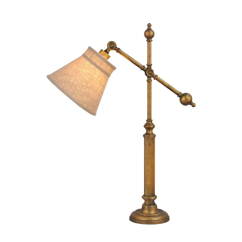 Лампа настольная Vintage joint table lampНастольные лампы<br>Настольная лампа в винтажном стиле для любителей путешествий и антиквариата. Оригинальна ножка золотистого цвета с эффектом старения дополнена фактурным льняным абажуром.<br><br>Material: Металл<br>Ширина см: 60<br>Высота см: 76<br>Глубина см: 30