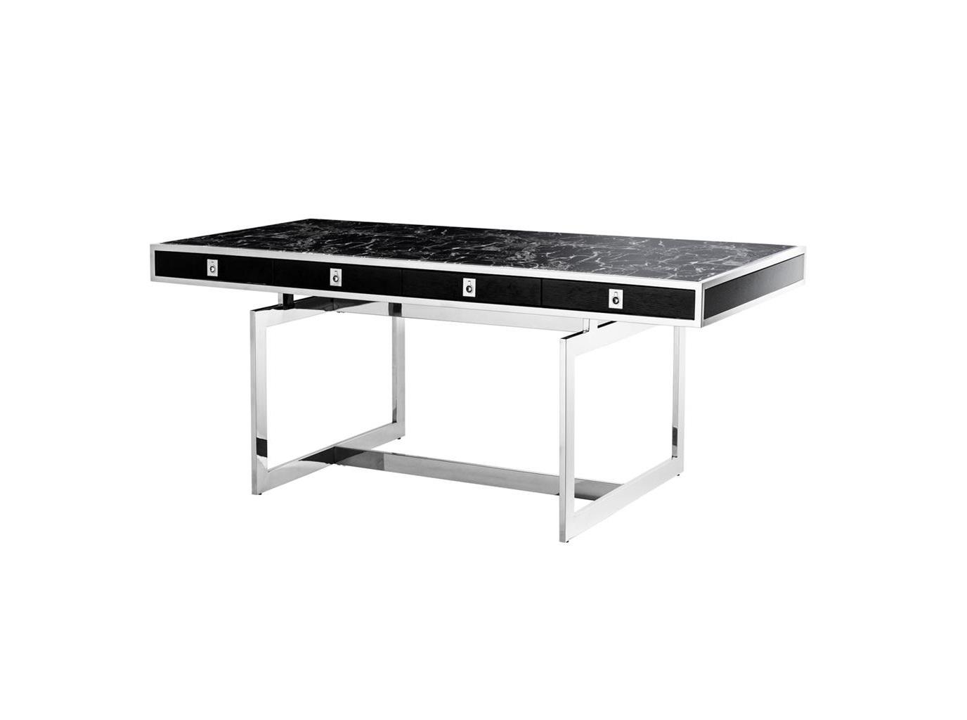 Стол EvolutionПисьменные столы<br>Письменный стол Evolution с каркасом из полированной нержавеющей стали и столешницей под черный мрамор. Четыре деревянных выдвижных ящика.<br><br>Material: Мрамор<br>Ширина см: 190.0<br>Высота см: 74<br>Глубина см: 90.0