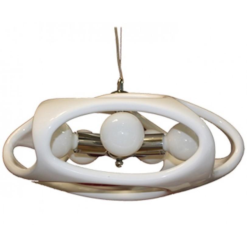 Лампа Timon 60 - белаяПодвесные светильники<br>Стильная лампа с каркасом из хромированного металла. Выполнена из акрила, представлена в различных цветах.<br>Тип цоколя:E27 3X60W<br>Ламп:E27<br><br>Material: Пластик