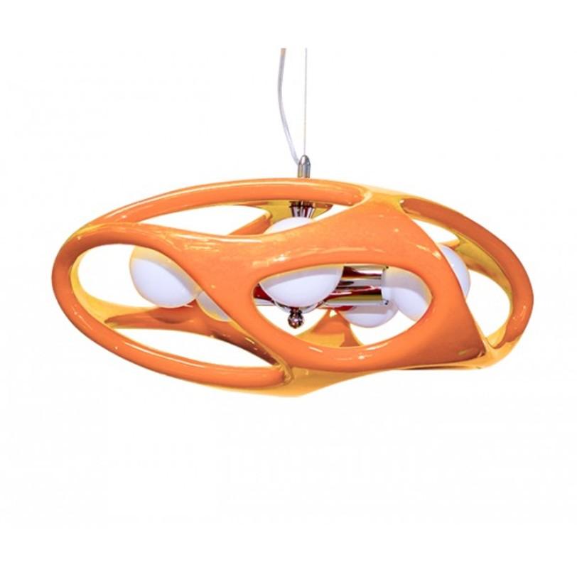 Лампа  Timon 60 - оранжеваяПодвесные светильники<br>Стильная лампа с каркасом из хромированного металла. Выполнена из акрила, представлена в различных цветах.<br>Тип цоколя:E27 3X60W<br>Ламп:E27<br><br>Material: Пластик<br>Высота см: 120.0
