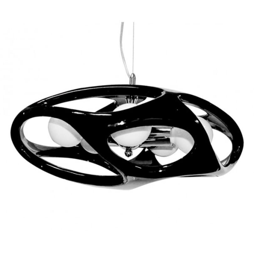 Лампа Timon 60 - чернаяПодвесные светильники<br>Стильная лампа с каркасом из хромированного металла. Выполнена из акрила, представлена в различных цветах.<br>Тип цоколя:E27 3X60W<br>Ламп:E27<br><br>Material: Пластик<br>Высота см: 120