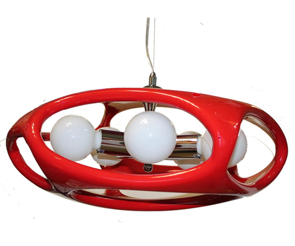 Лампа  Timon 60 - краснаяПодвесные светильники<br>Стильная лампа с каркасом из хромированного металла. Выполнена из акрила, представлена в различных цветах.<br>Тип цоколя:E27 3X60W<br>Ламп:E27<br><br>Material: Пластик<br>Height см: 120<br>Diameter см: 50