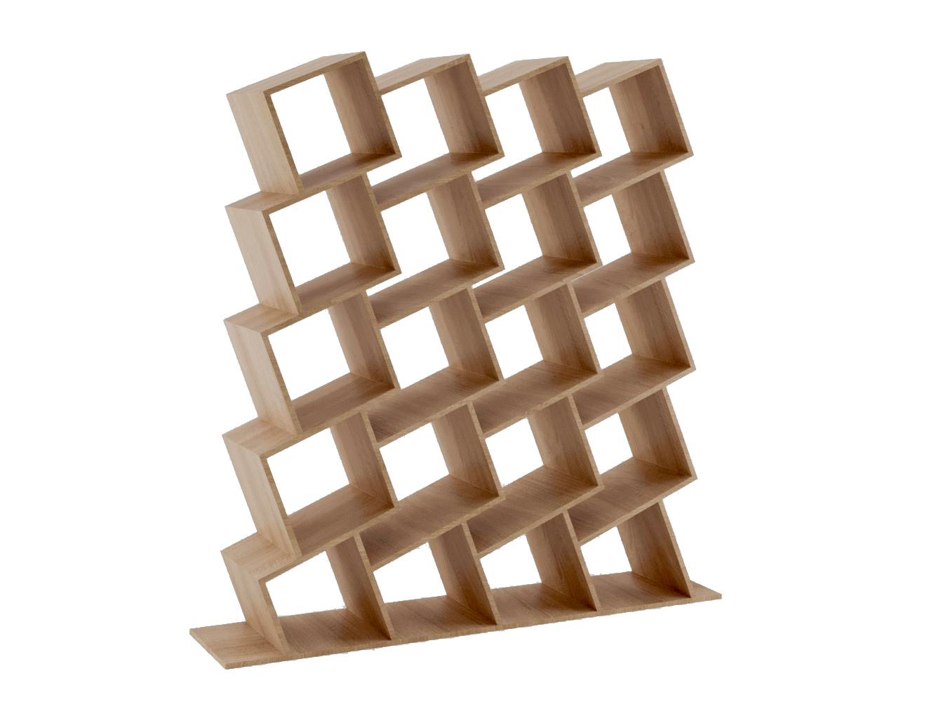 Стеллаж Матрица светлый 4Стеллажи и этажерки<br>Нетривиальный дизайнерский стеллаж от ODINGENIY, однозначно приковывает взгляд Возможны другие отделкиМатериал: МДФ, шпон
