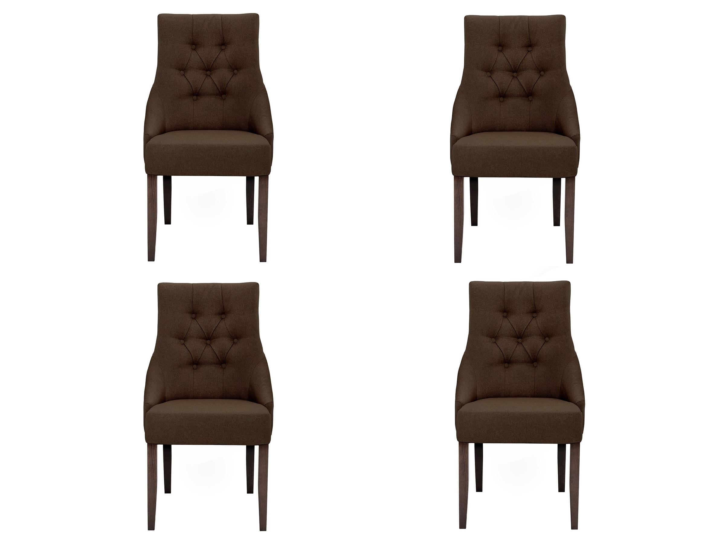 """Купить Комплект из 4 стульев """"classic"""" (Myfurnish) коричневый текстиль 52x102x70 см. 76565 в интернет магазине. Цены, фото, описания, характеристики, отзывы, обзоры"""