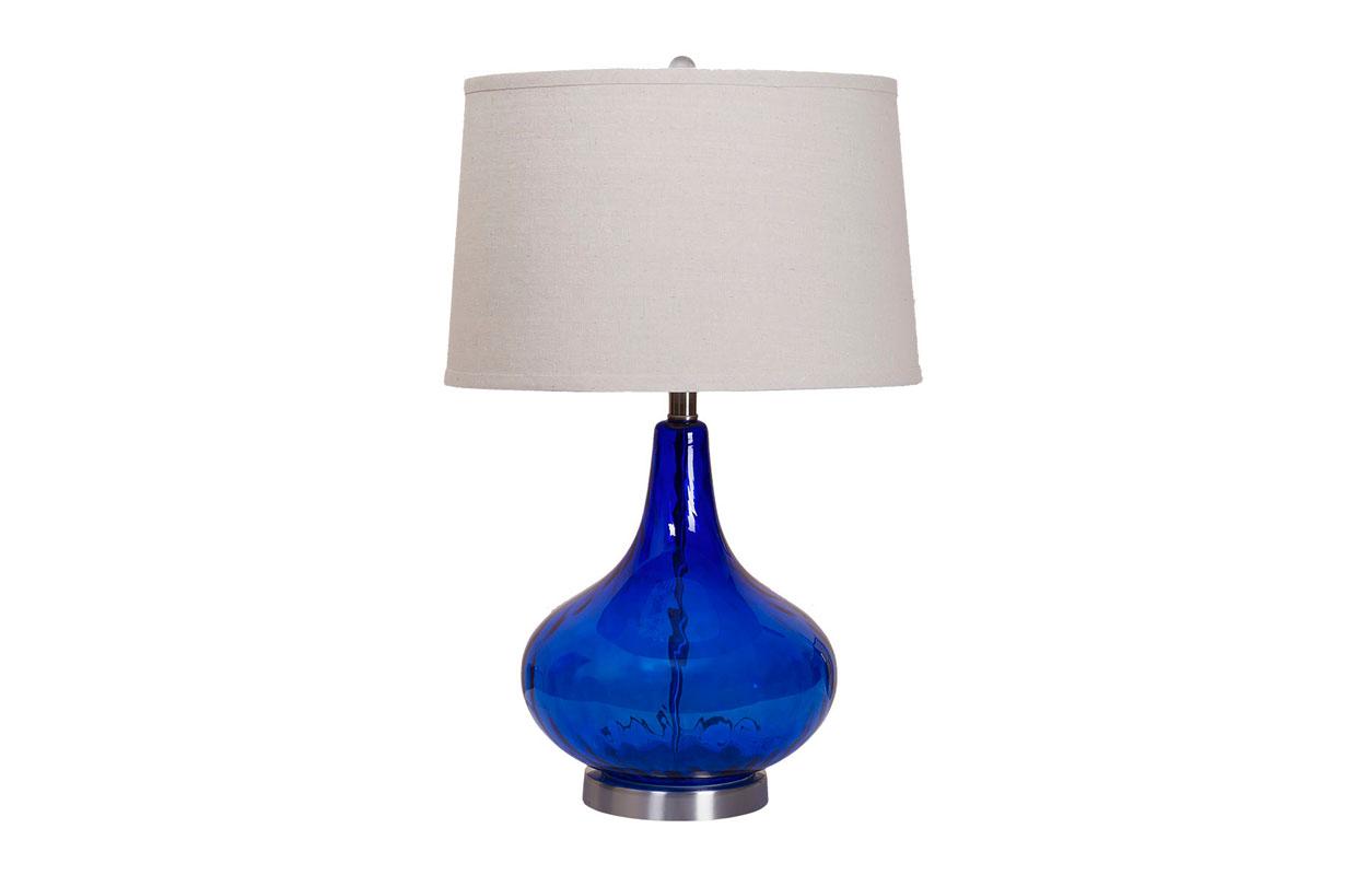 Лампа настольнаяДекоративные лампы<br>Цоколь: E27Мощность лампы: 60WКоличество ламп: 1Материал: основание - цветное стекло синего цвета, плафон - натуральный лен бежевый<br><br>kit: None<br>gender: None