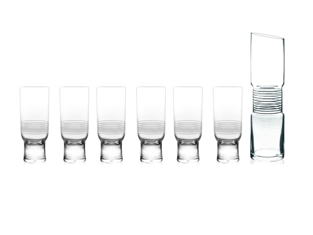 Набор бокалов и ваза-декантер VivaБокалы<br>Viva – лаконичная коллекция из прозрачного стекла. Современные формы предметов подчёркнуты тонким графическим декором. Эстетика коллекции прекрасно сочетается с её функциональностью.&amp;amp;nbsp;&amp;lt;div&amp;gt;&amp;lt;br&amp;gt;&amp;lt;/div&amp;gt;&amp;lt;div&amp;gt;Набор бокалов и ваза-декантер &amp;quot;Viva&amp;quot;, с белыми полосками (7 шт.)&amp;lt;/div&amp;gt;<br><br>Material: Стекло<br>Высота см: 23.6