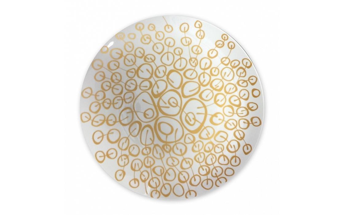 Блюдо Золотые вишниДекоративные блюда<br>Тарелка от Mateo станет превосходным дополнением для элегантной столовой в стиле ар деко, или в другом дизайне, полном утонченной роскоши. Белоснежный фарфор, украшенный золотистыми вишнями, гармонично впишется в атмосферу рафинированного аристократизма. Блюдо подчеркнет утонченность сервировки стола и добавит ей больше изящества.<br><br>Material: Фарфор