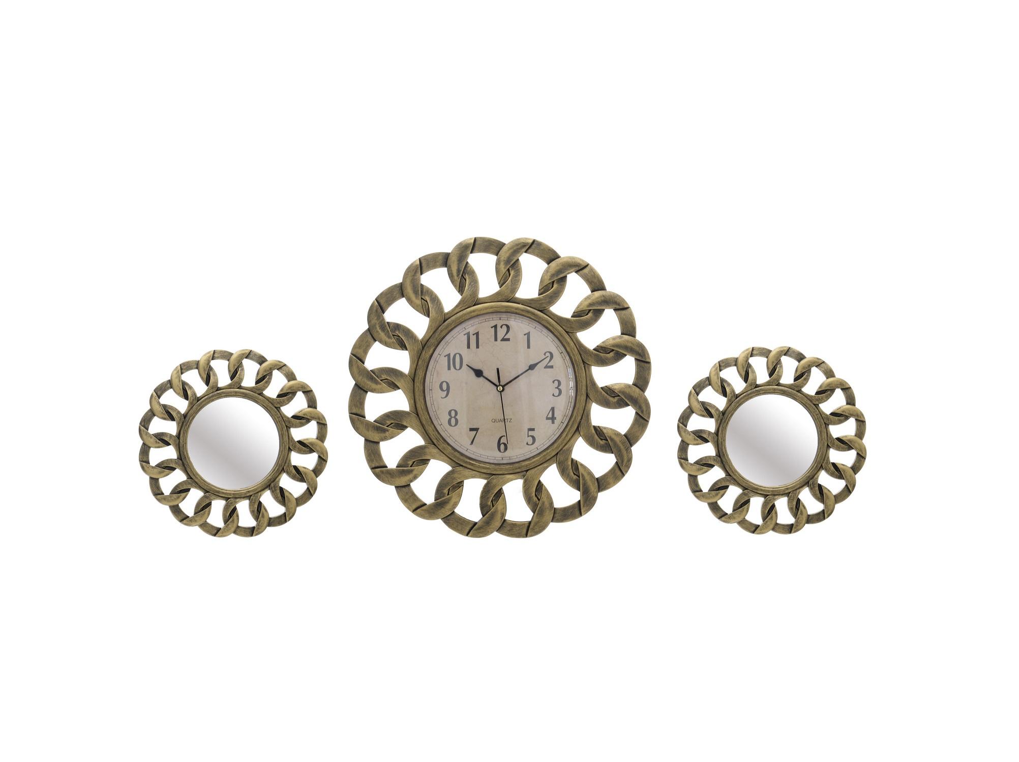 Часы настенные и 2 зеркала AurelianoНастенные часы<br>Размеры:&amp;lt;div&amp;gt;часы -40,6x40,6x3,5&amp;lt;/div&amp;gt;&amp;lt;div&amp;gt;зеркала -25,4x25,4x2,5&amp;lt;/div&amp;gt;&amp;lt;div&amp;gt;&amp;lt;br&amp;gt;&amp;lt;/div&amp;gt;&amp;lt;div&amp;gt;Часы - кварцевый механизм&amp;lt;/div&amp;gt;<br><br>Material: Пластик<br>Глубина см: 3.5