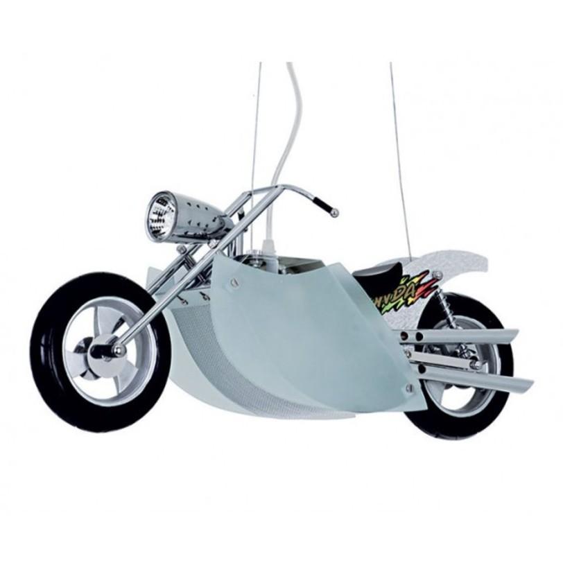 Светильник МотоциклПодвесные светильники<br>&amp;lt;div&amp;gt;Такой светильник просто создан для стильной и современной комнаты мальчишки! Или девчонки, если она любит скорость и мотоциклы. Плафоны-лепестки скрывают два цоколя типа E14 для ламп мощностью 40 Вт.&amp;lt;/div&amp;gt;<br><br>Material: Металл<br>Ширина см: 13<br>Высота см: 85