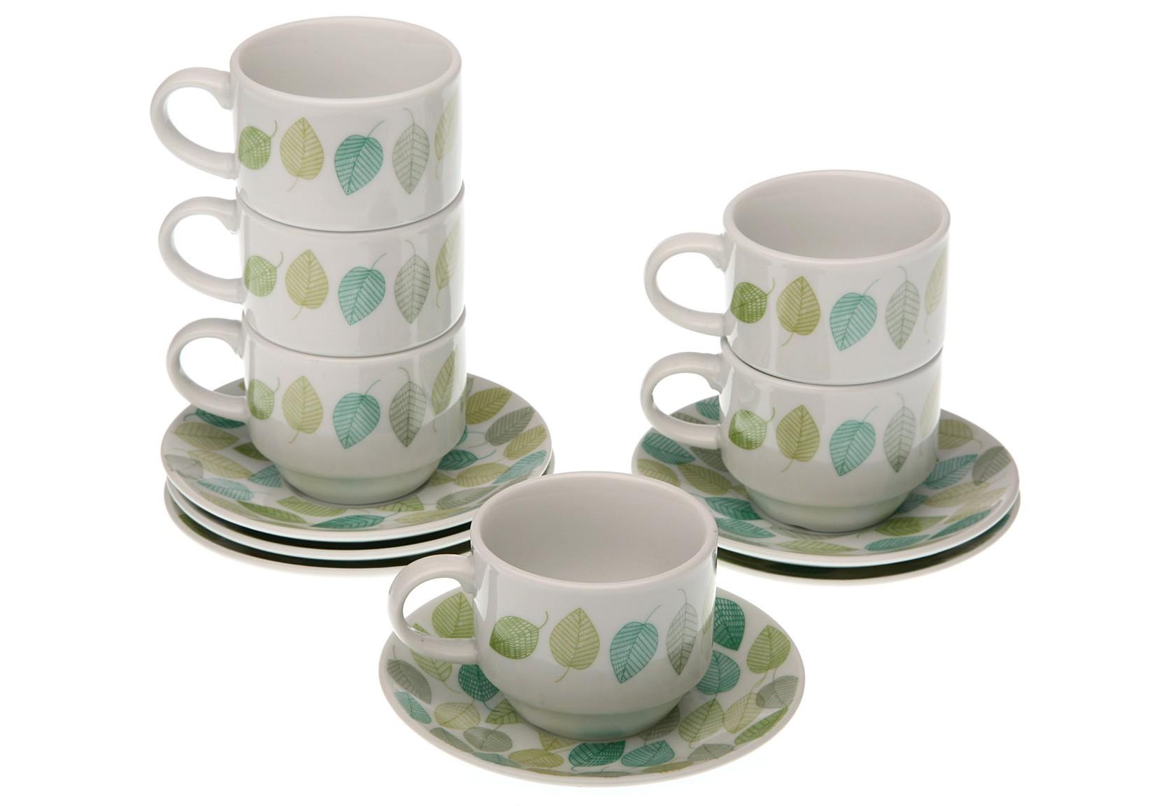 Набор кофейных пар (6 шт.)Чайные пары, чашки и кружки<br>Объем: 100 мл.<br><br>Material: Фарфор<br>Высота см: 5.0