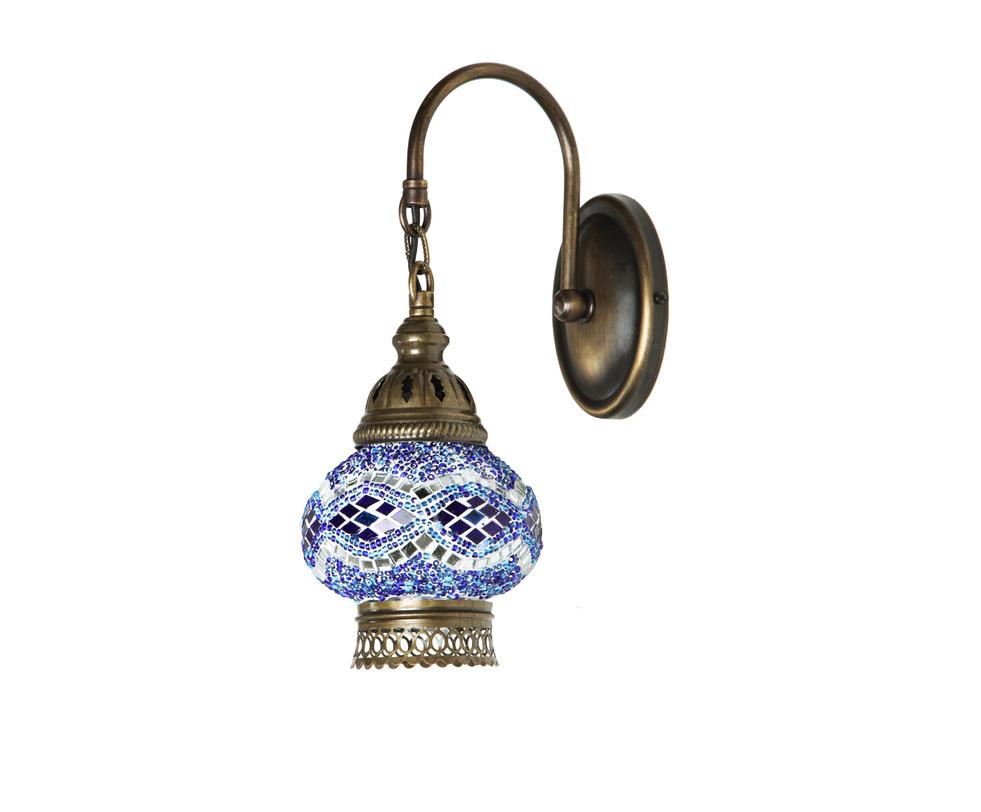 БраБра<br>Настенное бра из Турции напоминает предмет декора из дворца восточной сказки. Светильник ручной работы украшен мозаичным орнаментом в бело-сине-голубой гамме. Такой оригинальный предмет декора способен привнести в интерьер особую изюминку.h-29. w12x24 Е14 1*40w<br><br>Material: Стекло<br>Length см: 24.0<br>Width см: 12.0<br>Depth см: None<br>Height см: 29.0<br>Diameter см: None