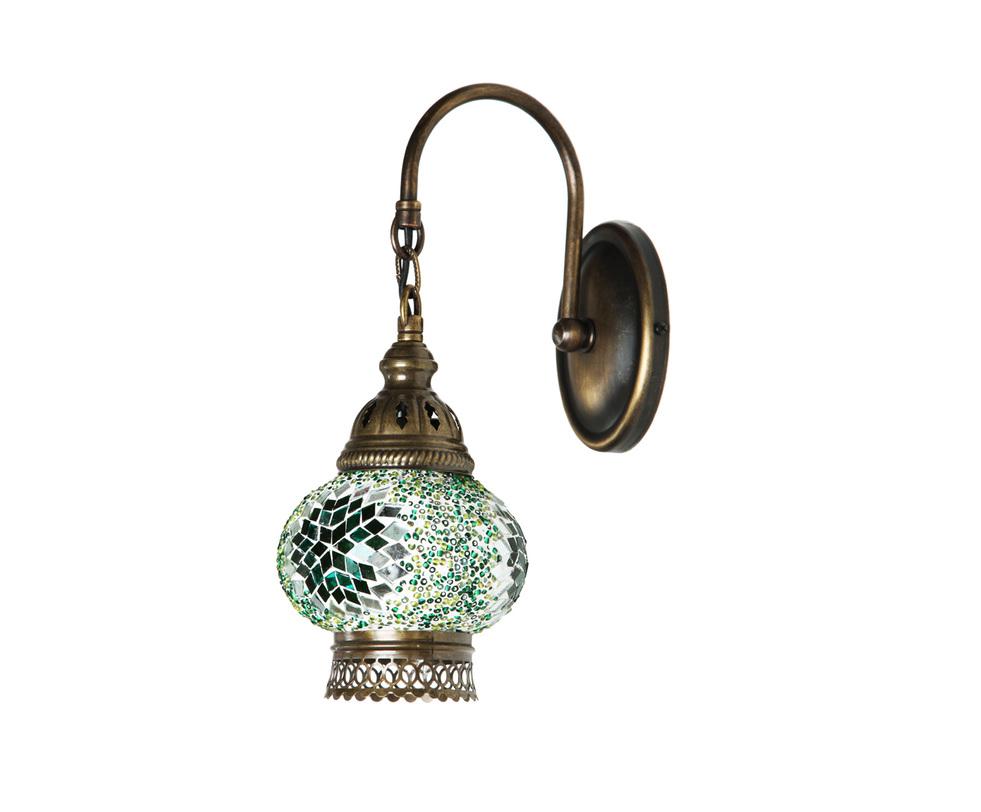 БраБра<br>Настенное бра из Турции напоминает предмет декора из дворца восточной сказки. Светильник ручной работы украшен мозаичным орнаментом нежных зеленых оттенков. Такой оригинальный предмет декора способен привнести в интерьер особую изюминку.<br><br>Цвет: зеленый<br><br>Material: Стекло<br>Length см: None<br>Width см: 12<br>Depth см: 24<br>Height см: 29<br>Diameter см: None