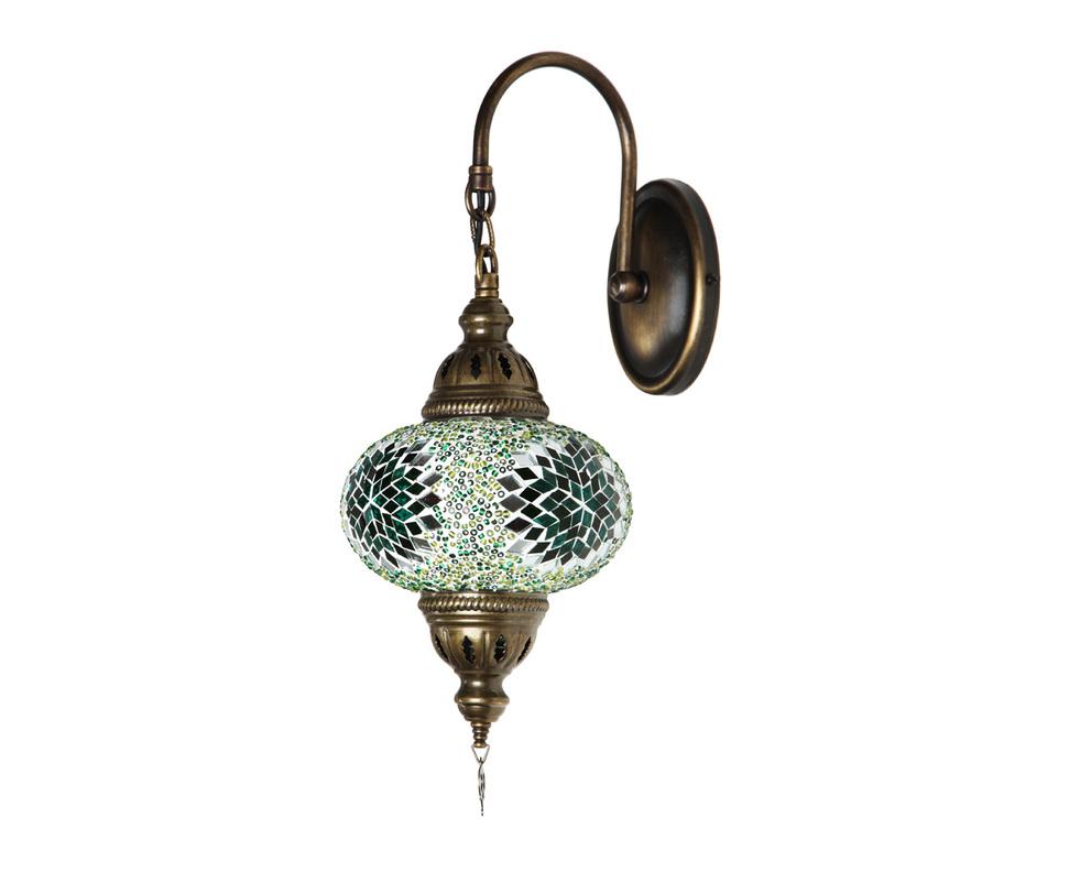 БраБра<br>Настенный светильник из Турции в ярко выраженном восточном стиле выполнен из латуни, мозаичный плафон в зелено-салатовой гамме делает бра нежным и ярким. Ручная работа. 4 варианта цвета мозаики. Латунь.<br><br>Material: Стекло<br>Ширина см: 15.0<br>Высота см: 38.0<br>Глубина см: 25.0