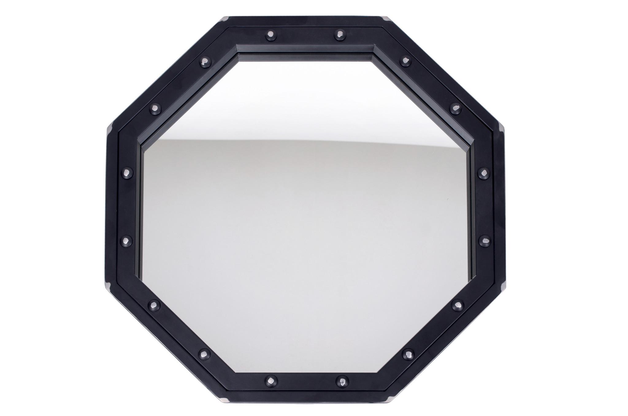 Зеркало Black OwlНастенные зеркала<br>Навесное зеркало в восьмиугольной стальной раме выполнено в лаконичном брутальном стиле. Призвано подчеркнуть твердый характер и независимость&amp;nbsp; обладателя. Рама изготовлена из стали, тыльная сторона надежно предохраняет стекло от выдавливания, что делает продукт более безопасным. Стойкое покрытие позволяет использовать его даже в умеренно влажных помещениях. Упаковано в деревянный ящик.Фабрика Black Owl выпускает дизайнерскую мебель из стали и дерева, разработанную с пристальным вниманием к деталям. На производстве используется современное оборудование, а для важных элементов – ручной труд опытных мастеров, поэтому мебель Black Owl с полным правом можно назвать крафтовой.<br><br>kit: None<br>gender: None