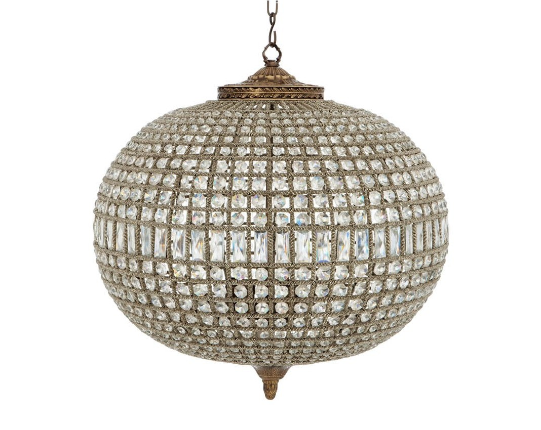 Светильник Kasbah Oval LargeПодвесные светильники<br>Роскошный светильник из стекла и металла в виде большой блестящей сферы, сверкающей множеством кристаллов, вызывает ассоциации со эпохой Гэтсби. Этот светильник привнесет шик и эклектику в современный интерьер.&amp;lt;div&amp;gt;&amp;lt;div&amp;gt;Материал: Стекло, никель.&amp;amp;nbsp;&amp;lt;/div&amp;gt;&amp;lt;div&amp;gt;Лампы: E14х5 40W&amp;amp;nbsp;&amp;lt;/div&amp;gt;&amp;lt;div&amp;gt;Напряжение: 220V&amp;lt;/div&amp;gt;&amp;lt;/div&amp;gt;<br><br>Material: Стекло<br>Ширина см: 70.0<br>Высота см: 70.0<br>Глубина см: 70.0
