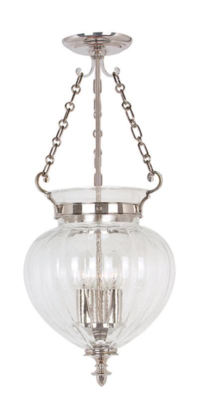 Светильник Finsbury Park Pendant Medium Polished NickelПодвесные светильники<br>Подвесной светильник в классическом английском стиле. Каркас из никелированной стали с помощью цепочек поддерживает стеклянный плафон в форме вазы.<br><br>Мощность: 3 x 60W E14<br>Длина с подвесом: 72 см.<br><br>Material: Стекло<br>Высота см: 52