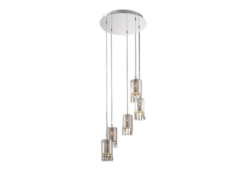 Подвесной светильникПодвесные светильники<br>Подвесной светильник на хромированной арматуре с пятью плафонами. Прозрачные стеклянные плафоны имеют напыление серого цвета с внутренней части. По внутреннему периметру плафонов располагаются хрустальные подвески.&amp;lt;div&amp;gt;&amp;lt;br&amp;gt;&amp;lt;/div&amp;gt;&amp;lt;div&amp;gt;&amp;lt;div&amp;gt;Вид цоколя: G4&amp;lt;/div&amp;gt;&amp;lt;div&amp;gt;Мощность:&amp;amp;nbsp; 10W&amp;lt;/div&amp;gt;&amp;lt;div&amp;gt;Количество ламп: 5 (в комплекте)&amp;lt;/div&amp;gt;&amp;lt;/div&amp;gt;<br><br>Material: Стекло<br>Ширина см: 40.0<br>Высота см: 120.0<br>Глубина см: 40.0