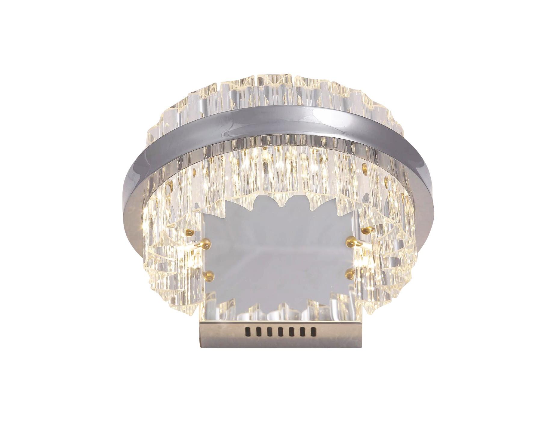 Настенный светильникБра<br>Настенный светильник из коллекции Halo с оригинальным дизайном. Плафон выполнен в виде кольца из хромированного металла с декоративными пластинами из прозрачного стекла.&amp;amp;nbsp;&amp;lt;div&amp;gt;&amp;lt;br&amp;gt;&amp;lt;/div&amp;gt;&amp;lt;div&amp;gt;&amp;lt;div&amp;gt;Вид цоколя: LED&amp;lt;/div&amp;gt;&amp;lt;div&amp;gt;Мощность: 12W&amp;lt;/div&amp;gt;&amp;lt;div&amp;gt;Количество ламп: 1 (в комплекте)&amp;amp;nbsp;&amp;lt;/div&amp;gt;&amp;lt;/div&amp;gt;<br><br>Material: Стекло<br>Ширина см: 25.0<br>Высота см: 10.0<br>Глубина см: 24.0