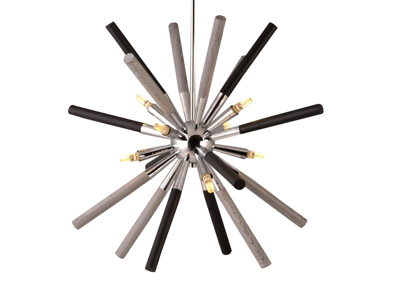 Подвесной светильникПодвесные светильники<br>Подвесной светильник из коллекции Sputnik с оригинальным дизайном. Плафон выполнен в виде сферы из хромированного металла с колбочками из черного металла и дерева серого цвета. Высота светильника регулируется.&amp;lt;div&amp;gt;&amp;lt;br&amp;gt;&amp;lt;/div&amp;gt;&amp;lt;div&amp;gt;&amp;lt;div&amp;gt;Вид цоколя: G9&amp;lt;/div&amp;gt;&amp;lt;div&amp;gt;Мощность:&amp;amp;nbsp; 40W&amp;lt;/div&amp;gt;&amp;lt;div&amp;gt;Количество ламп: 4 (в комплекте)&amp;lt;/div&amp;gt;&amp;lt;/div&amp;gt;<br><br>Material: Дерево<br>Ширина см: 63.0<br>Высота см: 120.0<br>Глубина см: 63.0