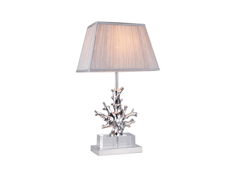 Настольная лампаДекоративные лампы<br>Настольная лампа на основании из прозрачного стекла. Декоративный коралл на основании из полированного никеля. Текстильный абажур серого цвета скрывает лампу.Вид цоколя: E27Мощность:&amp;nbsp; 60WКоличество ламп: 1 (нет в комплекте)<br><br>kit: None<br>gender: None