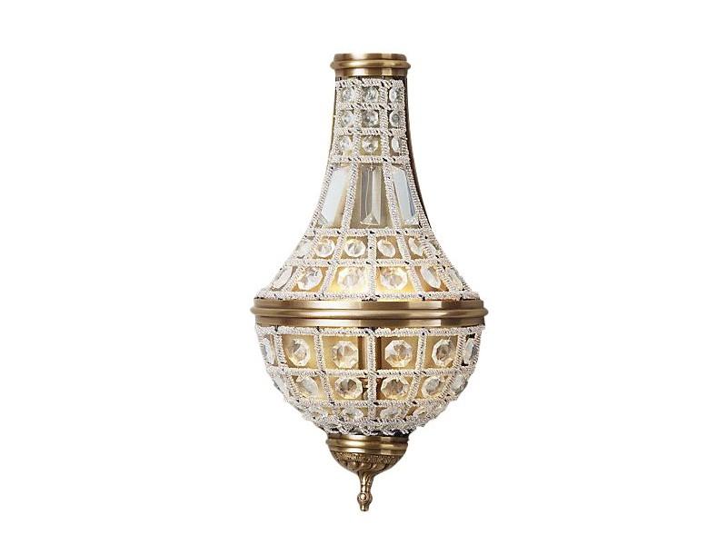 Настенный светильникБра<br>Настенный светильник на арматуре из металла цвета античная латунь. Плафон состоит из множества прозрачных хрустальных кристаллов.&amp;lt;div&amp;gt;&amp;lt;br&amp;gt;&amp;lt;/div&amp;gt;&amp;lt;div&amp;gt;&amp;lt;div&amp;gt;Вид цоколя: E14&amp;lt;/div&amp;gt;&amp;lt;div&amp;gt;Мощность:&amp;amp;nbsp; 40W&amp;lt;/div&amp;gt;&amp;lt;div&amp;gt;Количество ламп: 2 (нет в комплекте)&amp;lt;/div&amp;gt;&amp;lt;/div&amp;gt;<br><br>Material: Хрусталь<br>Ширина см: 24.0<br>Высота см: 44.0<br>Глубина см: 12.0