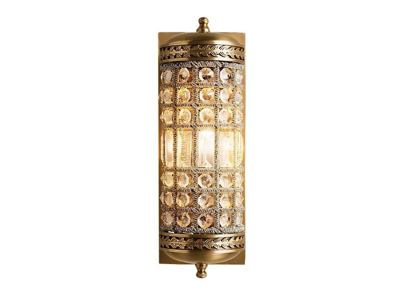 Настенный светильникБра<br>Настенный светильник на арматуре из металла цвета античная латунь. Плафон состоит из множества прозрачных хрустальных кристаллов.&amp;lt;div&amp;gt;&amp;lt;br&amp;gt;&amp;lt;/div&amp;gt;&amp;lt;div&amp;gt;&amp;lt;div&amp;gt;Вид цоколя: E14&amp;lt;/div&amp;gt;&amp;lt;div&amp;gt;Мощность:&amp;amp;nbsp; 40W&amp;lt;/div&amp;gt;&amp;lt;div&amp;gt;Количество ламп: 1 (нет в комплекте)&amp;lt;/div&amp;gt;&amp;lt;/div&amp;gt;<br><br>Material: Хрусталь<br>Ширина см: 13.0<br>Высота см: 38.0<br>Глубина см: 18.0