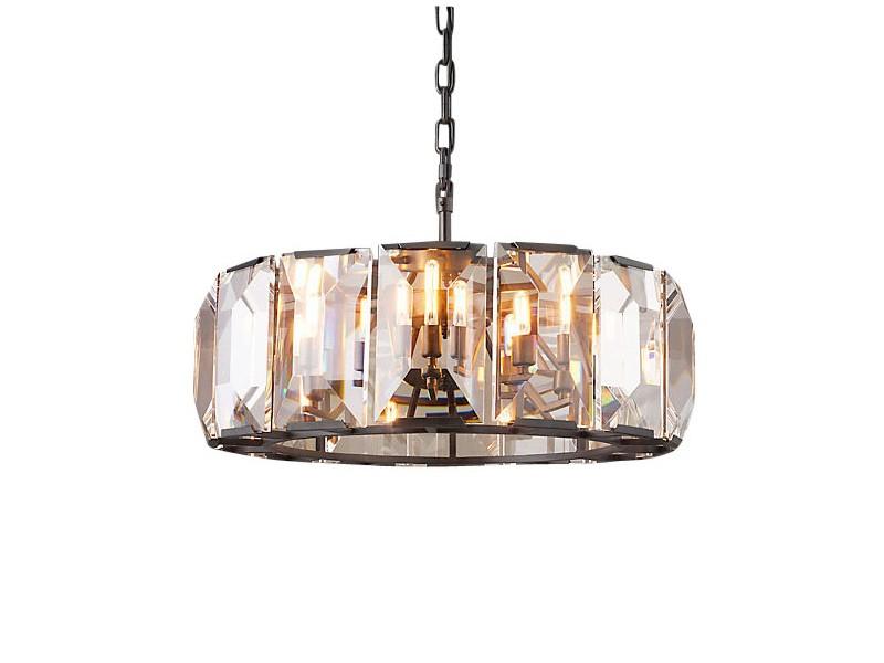Подвесной светильникПодвесные светильники<br>Подвесной светильник на арматуре из металла черно-коричневого цвета. Плафон состоит из прозрачных хрустальных пластин в виде крупных кристаллов.&amp;nbsp;Высота светильника регулируется.Вид цоколя: E14Мощность:&amp;nbsp; 40WКоличество ламп: 8 (нет в комплекте)<br><br>kit: None<br>gender: None